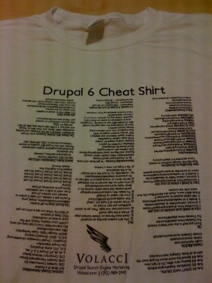 Drupal 6 Cheat Shirt - Volacci.com