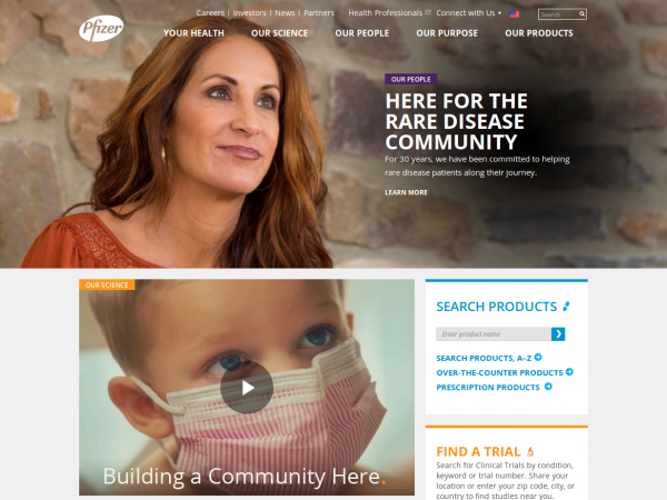 Pfizer frontpage